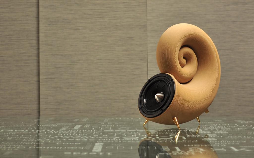 Loa nghe nhạc bằng vật liệu gỗ được in từ máy in 3d.